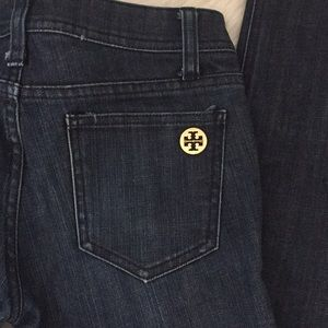 Tory Burch dark denim straight leg jeans
